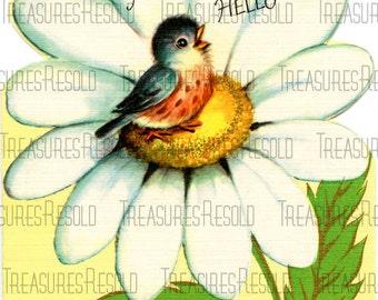 A Cheery Hello Bird Daisy Card #137 Digital Download