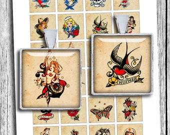 """Retro Tattoos Sailor Jerry 1x1"""" 0.75x0.83"""" 1.5x1.5"""" for Jewelry Making Printable Digital Collage Sheet - Instant Download"""