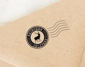 Christmas Stamp, Reindeer Christmas Stamp, Holiday Stamp, Christmas Card Stamp, Happy Mail Stamp, Package Stamp, Gift Tag, Air Mail