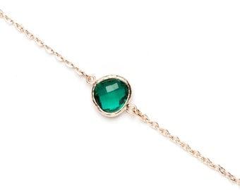 Rose Gold Bracelet | Green Link Bracelet | Rose Gold Jewellery | Emerald Coloured bracelet