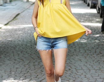 Yellow Tunic Top, Loose Top, Sleeveless Top, Summer Top, Fashion Top, Party Top, Minimalist Top, Sexy Top, Casual Top, Extravagant Top