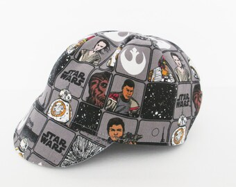 Star wars hat, Baby boy hat, Boys cycling hat, Kids cap, Children's hat, Messenger hat,  Grey, Reversible