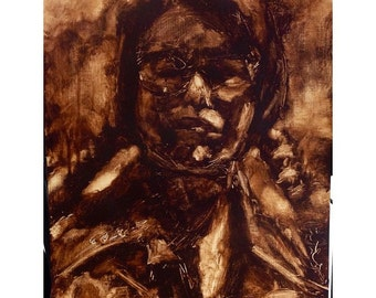 Rubout Portraits - Custom acrylic rubout portraits on canvas paper, custom portraiture