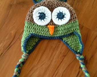 FREE SHIPPING! Green, blue and brown owl hat! Photo prop Sizes newborn-child