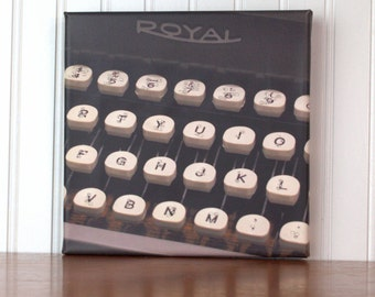 Braille Art, Royal Typewriter Wall Art, Typewriter Keys Canvas Art, Typewriter Sign, Office Decor, Braille Gift, Original Photography, 8x8