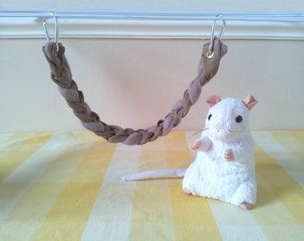 Short Mouse Climbing Rope, Mouse Cage Accessory, Hanging Mouse Toy, Handmade Pet Toy, Upcycled Denim and Fleece Hamster Cage Accessory