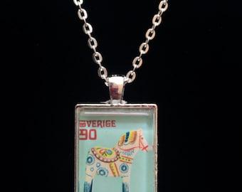 Swedish Dala Horse Postage Stamp Necklace