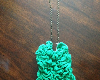 Green Crocheted Bib Necklace on Matte Gold Chain