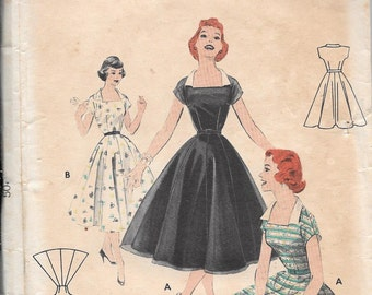Vintage 1950s Butterick Sewing Pattern 7308- Misses' Dress size 14 bust 32""
