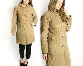 Vintage 90's Tan Brown Corduroy Hooded Long Coat Jacket with Toggle Buttons - Small to Medium