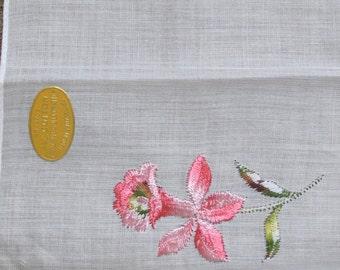 Vintage Ladies Hankerchief, Made in Switzerland-free shipping