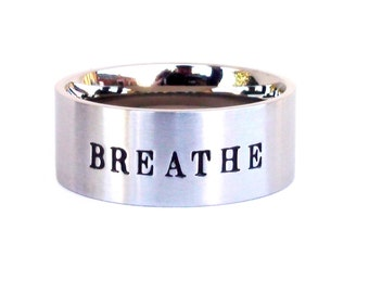 Breathe- Ring Meditation Yoga Ring Inspirational ring breathe quote stainless steel ring hand stamped