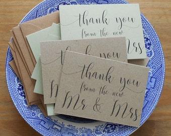 Wedding Thank You Cards Wedding Thank You Notes 10pk Wedding Thank You Card Set and envelopes MINI Thank You Cards