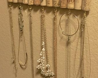 Wine Cork Jewelry Hanger / Wine Cork Necklace Hanger / Wine cork jewelry holder / Jewelry display / Stocking Stuffer