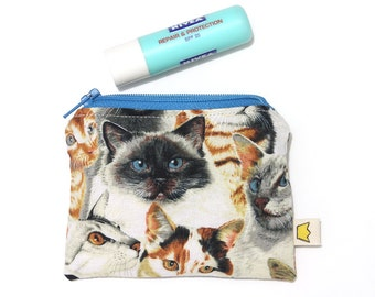 Cats zipper pouch, coin pouch, small zippered pouch for the feline lover