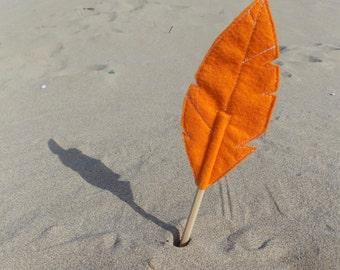 Orange Felt Quill FLORA Pencil Topper, Orange Feather, Vegan