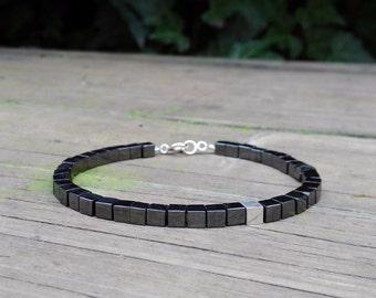 Mens Hematite modern bracelet. Genuine Gemstone/Designer Bracelet/Healing Stones/Men jewelry/Men Bracelet/Metal Bracelet.