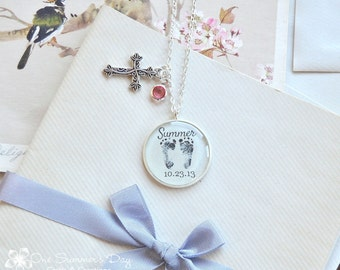 Personalized Baby Feet Necklace, Your Baby's Actual Footprint Necklace with Cross and Birthstone