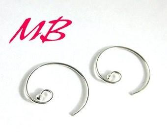 Sterling Hoop Earring Hooks with Ball End Loop, Round Earwires, 4pcs