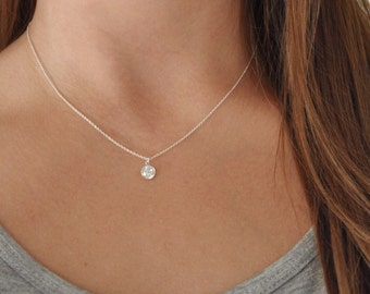 Small CZ Necklace - Cubic Zirconia - Crystal - Sterling Silver or Gold Filled