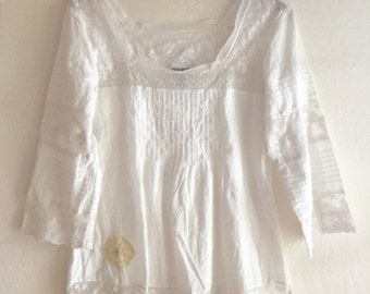 upcycled lucky brand blouse, recycled top, romantic, lace, tshirt free people boho, flowers, summer top, beach wear, Bohemian hippie style