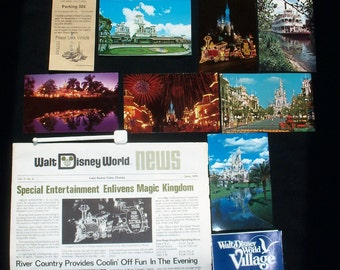 Vintage  Walt Disney World 1978-1979 Paper Collectible Package of Brochures, Guide Books, Postcards, Newspaper,Parking Pass, Price of Ticket