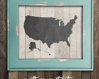 Chalkboard Wood United States Map Cutout Scroll Cut Map - Us map chalkboard