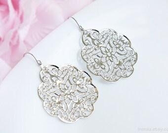 Large dangle silver metal lace earrings, Silver filigree earrings, Big lace modern earrings Spanish style boho earrings Bridal Bohemian