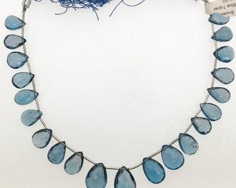 London Blue Topaz Teardrop Briolette All Natural Gemstone Bead Strand