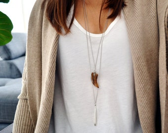 Tiger Eye Tusk Long Necklace - Bohemian - Gypsy Accessory - Minimal Everyday Jewelry