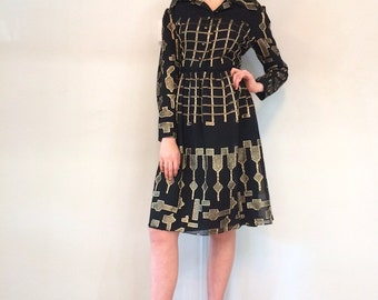 Vintage 1970's Oscar de la Renta Black w/ Gold Lame Metallic Dress