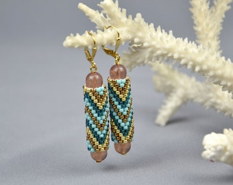 Geometric Beaded Earrings Turquoise Earrings Beaded Dangle Earrings Seed Bead Earrings Bohemian Earrings Boho Beaded Earrings Christmas gift