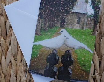 Needle Felt Doves Wedding or Engagement Card (A6)