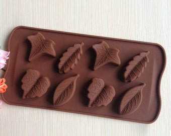 leaf mold - fall mold - fondant mold - gum-paste mold - cake mold - polymer clay mold - resin mold