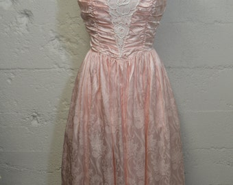 Strapless Formal Pink Party Dress with Tulle Petticoat and Lace - 80's Prom Dress - Contempo Casuals