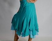 LAYERED STEAMPUNK SKIRT Light Blue - Turqoise Pirate Skirt Renaissance Festival Costume Skirt Belly Dancer Skirt Underskirt  2 layers Zootzu