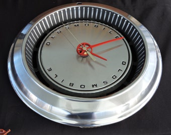 Olds Hubcap Clock