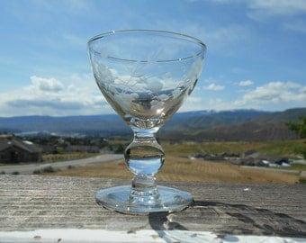"Etched Glass Goblet, Dessert or Sherbet Dish, Ball Stem, 3"" Diameter x 3-3/4"" Tall"