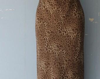 Vintage 90s Leopard Print Slip Dress/Animal Print/Maxi Slip Dress/