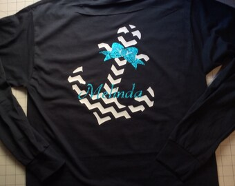 Monogrammed Chevron Anchor with Bow T-shirt with Glitter Option Personalize with your name and monogran