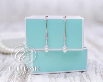 Elegant Bridal Earring Wedding Jewelry Zircon Dangle Earrings Bridesmaid Earrings White Rhodium Vintage Pearl Dangle Wedding Earrings