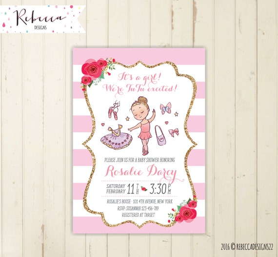 ballerina baby shower invitation tutu baby shower invitation pink and