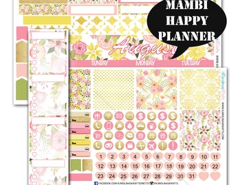 Blush Pink Gold Floral MONTHLY Planner Kit  / Happy Planner Stickers / Mambi Stickers / Monthly Sticker Kit #SQ00217-MHP