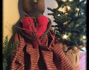 Handmade Primitive Valentine Doll Made to Order