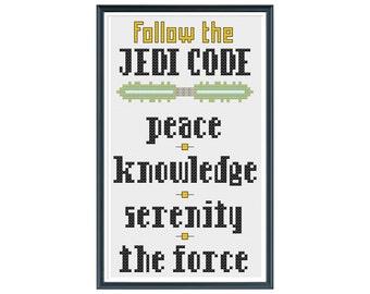 Inspired by Star Wars: Cross Stitch Pattern - Jedi Code Cross Stitch Pattern
