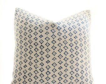 Peter Dunham Textiles Kumbh Pillow Cover, Indigo, Natural, SKU9261, Linen, Geometric, Pattern, 18x18, 20x20, 22x22, 24x24, Lumbar