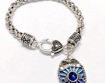 Police Wife Gift Bracelet, Blue Police Badge Gift For Officer Wife Mother Daughter Sister Charm Bracelet