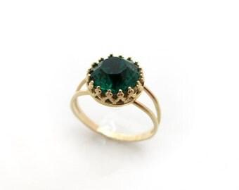 Emerald Swarovski Ring, Green Swarovski Ring, Gold ring, Green Crystal Ring, Bridal Jewellery, Bridesmaid Ring Gift, Gift for Her