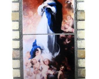 Immaculate Conception - Virgin Mary shrine - catholic home altar - catholic shrine - ceramic tiles - OOAK - mosaic  catholic altar - Murillo