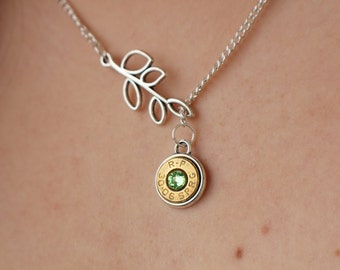 Brass Bullet Necklace - Bullet Jewelry - Gun Necklace - Nature Jewelry - Tree Branch Necklace - Second Amendment - Tree Jewelry  - Gifts For